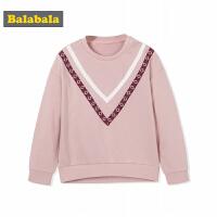 巴拉巴拉童装女童小童宝宝卫衣儿童秋装2017新款圆领长袖套头衫潮