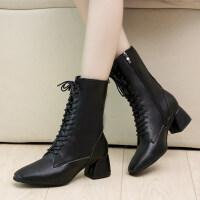 马丁靴女英伦风欧美19秋新款黑色中跟ins方头短靴潮帅气马丁靴女 黑色