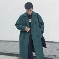 冬季英伦复古双排扣纯色毛呢大衣男中长款韩版宽松落肩呢子外套潮