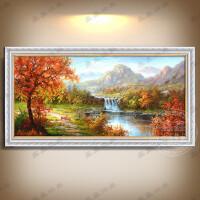 美式风景纯手绘油画小鹿黄金满地山水客厅沙发背景欧式装饰画挂画 100*300手绘带框尺寸 单幅