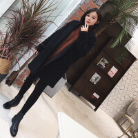 №【2019新款】冬天年轻人穿的韩版茧型黑色呢子大衣中长款赫本加厚小个子毛呢外套女冬