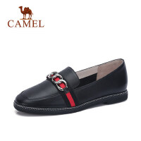 Camel 骆驼真皮女鞋2018春季新款英伦风平底单鞋圆头浅口舒适妈妈鞋百搭