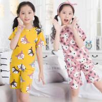 女童家居服夏季短袖套装纯棉儿童睡衣套装中大童空调服薄款女孩