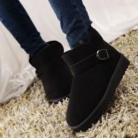 短筒雪地靴女款学生韩版加厚冬天棉鞋冬季新款女鞋加绒平底女靴子