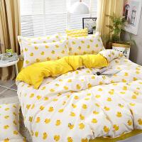 韩式条纹简约被罩学生宿舍床单人四件套1.5米床上用品4