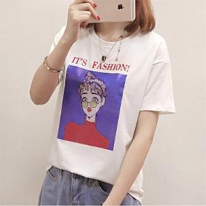 韩版新款圆领宽松T恤女半袖休闲简约风打底衫女装潮