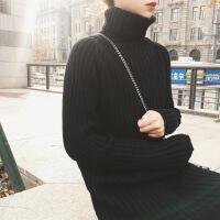针织毛衣裙秋冬季中长款打底过膝高领裙子法式高冷气质早秋连衣裙