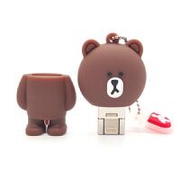 布朗熊16/32G�O果手�CU�P萌��X�捎�iPhone/iPad�U容器�W生情�H���P