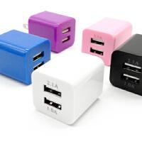 2A双U绿点USB充电器平板智能手机快充多孔双孔口通用充电器头 粉红色 【糖果双口快充】