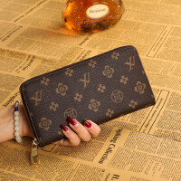 钱包女印花长款新款多功能女士品牌钱夹手拿拉链手机皮夹经典 老花