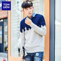 (2件3折价65.7)唐狮 冬装新款男式毛衣双色提花撞色针织衫圆领套头长袖毛衫潮