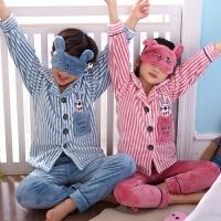 儿童睡衣男孩秋冬季珊瑚绒男童女童小孩家居服套装