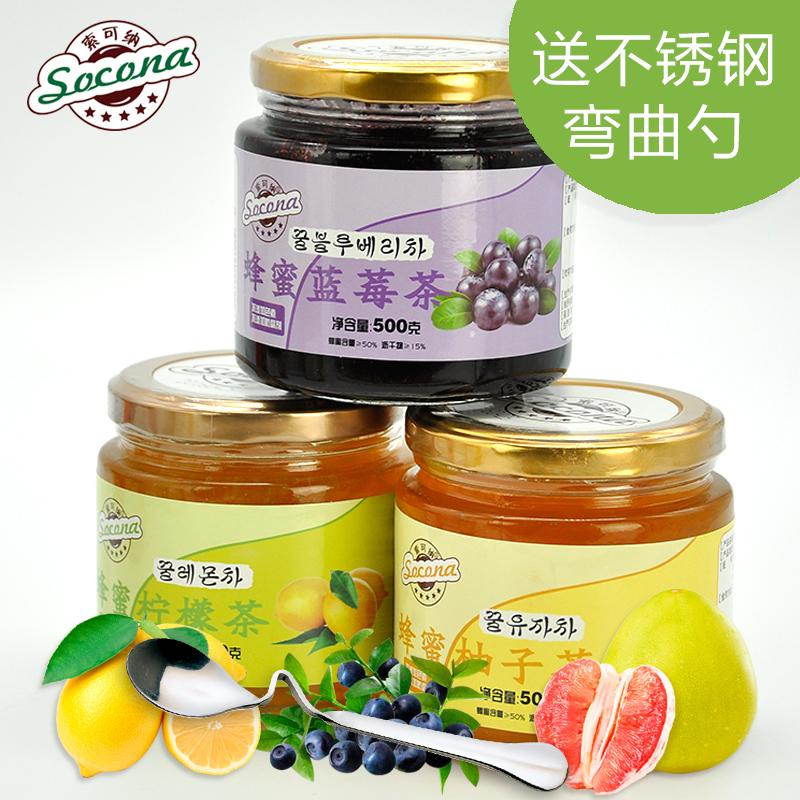 送弯曲勺 Socona蜂蜜蓝莓茶+柠檬茶+柚子茶3瓶装韩国水果酱冲饮品 3瓶装 送 不锈钢弯曲勺