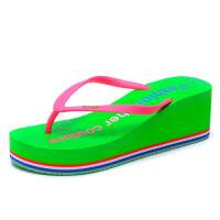 金公主人字拖女厚底休闲沙滩鞋松糕坡跟高跟拖鞋防滑夹脚凉鞋夏 36 运动鞋码 女款
