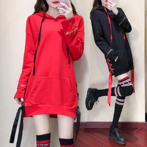卡茗语2017新款秋冬装韩版套头连帽chic卫衣女中长款宽松连衣裙显瘦