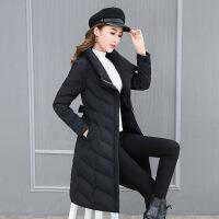 棉衣女中长款2018新款韩版显瘦冬装外套女百搭学生宽松chic女 黑色 S