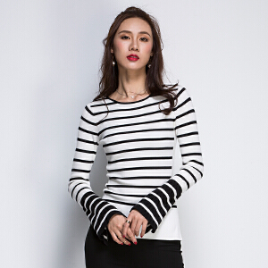 2017新款秋季圆领修身喇叭袖毛衣针织衫条纹时尚女装上衣开叉打底衫