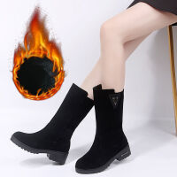 大码女靴秋冬绒面平底中筒靴41加绒靴子雪地靴加大码女鞋42骑士靴