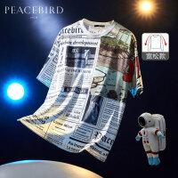 太平鸟男装 满印T恤报纸印花短袖男士潮流体恤韩版创意T恤衫宽松