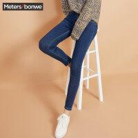 美特斯邦威牛仔长裤女冬季新款弹力修身小脚裤子学生韩版潮