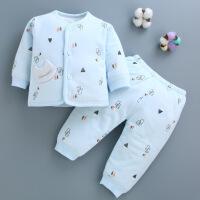 婴儿保暖内衣套装宝宝套秋冬季纯棉两用裆新生儿棉衣