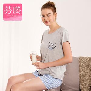 芬腾睡衣短袖短裤套装女夏季2017新款针织棉韩版格子套头家居服