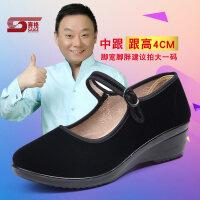 老北京布鞋女旗舰店官方软底平底上班工作鞋女士跳舞黑色酒店单鞋