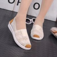 老北京帆布鞋女鞋一脚蹬女舞蹈鞋广场鞋休闲鞋工作鞋学生鞋妈妈鞋 米白色 网鞋