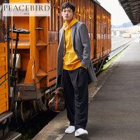 【2件2.5折】太平鸟男装 毛呢大衣男韩版修身男士羊毛外套金属装饰大衣潮青年