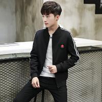 秋季薄款棒球服印花夹克外套新款男士修身短款韩版休闲时尚衣服潮
