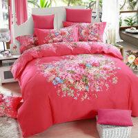 新婚床上用品全棉加厚磨毛四件套1.8m床笠大红纯棉结婚庆套件 2.0m (6.6英尺)床