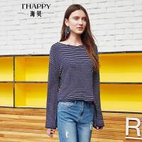 海贝2017秋季新款女装上衣 性感V领时尚喇叭袖条纹长袖针织衫