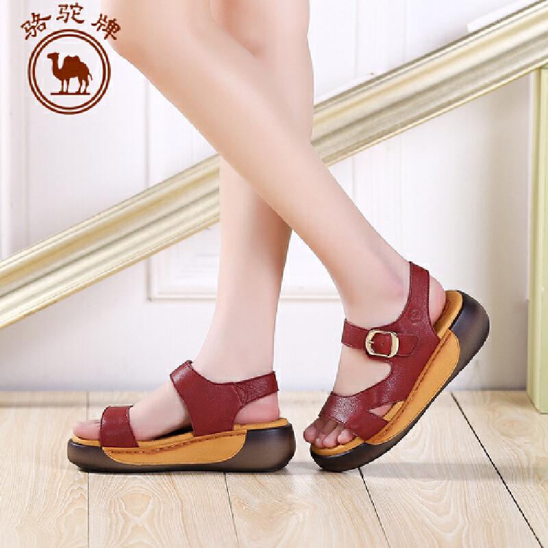 骆驼牌女鞋 夏季新品 日常休闲舒适凉鞋女士松糕底高跟鞋子