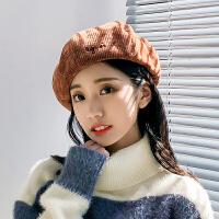 贝雷帽子女秋冬潮冬季软妹蓓蕾画家帽可爱英伦南瓜帽