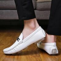 夏季新款韩版休闲皮鞋小白鞋男士套脚驾车鞋软皮软底百搭鞋男