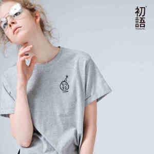 【下单减100 商场同款】初语夏装新款 趣味印花圆领纯棉短袖T恤女宽松大码百搭短款打底衫