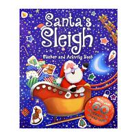 Santa's Sleigh 圣诞老人的雪橇 儿童英文活动书 圣诞贴纸书 英文原版图书