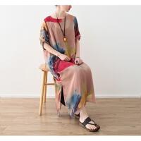 原创18夏季新款原创设计女装复古文艺女装 雪纺印花宽松连衣裙袍子GH061 肉粉色 此款两件套 均码
