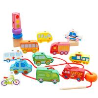 儿童益智串珠绕珠积木城市交通花园数字字母穿线场景玩具