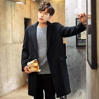 [1折价99.9元]唐狮冬装新款外套男翻西装领宽松中长款毛呢子大衣韩版纯净色