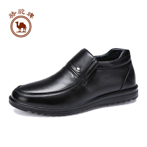 骆驼牌男鞋  冬季舒适保暖加绒皮鞋男士套脚休闲鞋