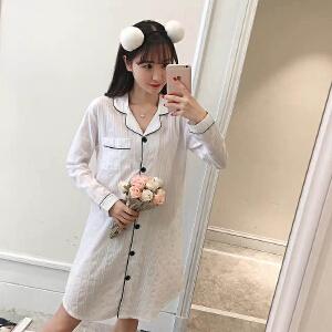 Yinbeler夏季白色睡裙透气贴身长袖简约时尚利发国际lifa88服纯棉开衫镂空衬衫睡裙