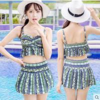 女泳衣 户外新款复古泳衣女韩版时尚性感钢托聚拢分体裙式平角两件套女泳衣