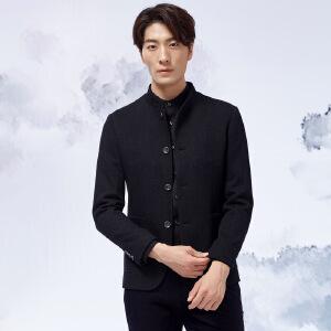 才子男装(TRIES)西服大衣 才子男装2017年冬季新款时尚修身加厚西服上衣