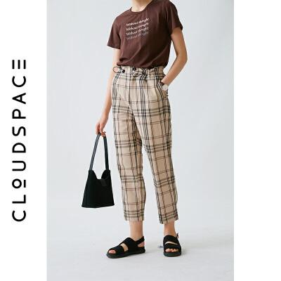 云上生活2019夏新款直筒裤子格子裤休闲文艺九分裤女K1201