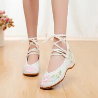 汉服鞋子女学生复古软底轻便古风内增高坡跟老北京民族风绣花布鞋