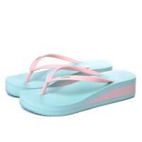 金公主中跟女士人字拖 夏季防滑厚底夹拖凉拖鞋松糕沙滩鞋坡跟 38 偏小一码 女款
