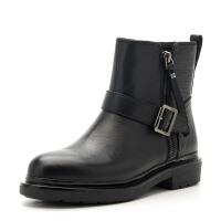 D:Fuse/迪芙斯短靴冬新款牛皮圆头侧拉链低跟女鞋DF64117501