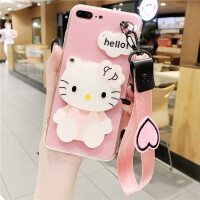 哈喽kitty苹果6s手机壳7p女款8x潮牌挂绳hello凯蒂猫iphone6plus 苹果7/8 4.7寸 粉底KT