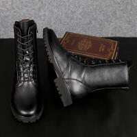 新款男靴马丁靴男加绒高帮靴子男雪地靴男中帮棉短靴男 力炫LX858黑色